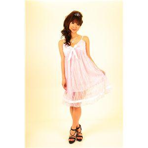 ナイトドレス レースミドル丈ワンピ (薄いピンク色)