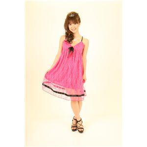 ナイトドレス レースミドル丈ワンピ (濃いピンク色)