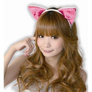 フワフワ猫耳カチューシャ 前耳 白/ピンク 2個セット