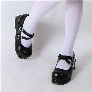 【ゴスロリ・メイド服に合う靴】コスプレ ストラップシューズ ブラック M(23.0cm〜24.0cm)【オススメ】