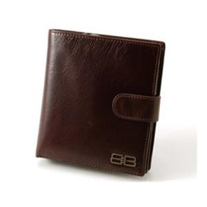 BALENCIAGA レザー2つ折りジップ財布 BANA04 ブラウン