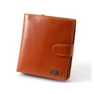 BALENCIAGA レザー2つ折りジップ財布 BANA04 キャメル