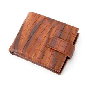 BALENCIAGA(バレンシアガ) クロコ型押 レザー二折財布 BASY02CO DARK BROWN