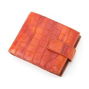 BALENCIAGA(バレンシアガ) クロコ型押 レザー二折財布 BASY02CO BROWN