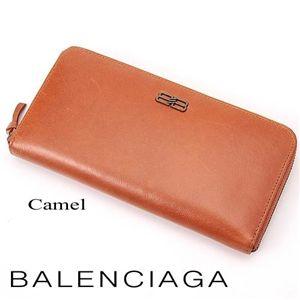 BALENCIAGA(バレンシアガ) レザーラウンドファスナー長財布 BANA02 Camel