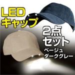 LED照明付帽子『パンサービジョン』 ベージュ&ダークグレーセット