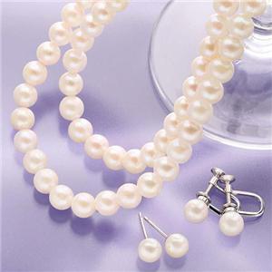 6.5〜7mm珠 本真珠ネックレス2本&ピアスセット