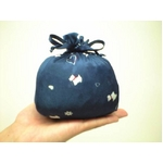 仔犬柄 コンパクトパジャマ(7分袖・ネイビー・M)