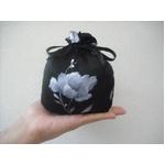 花柄 コンパクトパジャマ(長袖・ブラック・M)