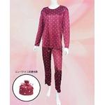 チューリップ柄 コンパクトパジャマ(長袖・ワインレッド・L)