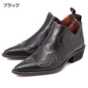 レザーウエスタン ショートブーツ KD 70006 ブラック 9