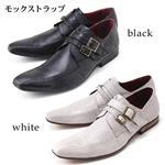 本革モードドレスシューズ made in JAPAN 75001 モンクストラップホワイト 26.0cm
