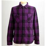 ブロックチェックシャツ 2U8-9000 パープル M