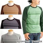 MANHATTAN TRANSFER ネイティブptラグランクルー 2M7-9244 グリーン Lサイズ