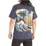 抜染和柄Tシャツ+トートバッグセット(白波)M