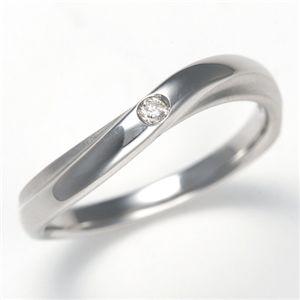 K18WG ダイヤモンド0.02ct ラヴァーズリング ウェーブウィンド 23号