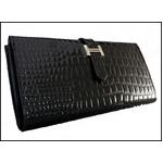 Hマーク・エナメルクロコ型押し長財布◆本革製 ブラック