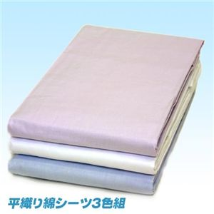 平織り綿シーツ クイーン3色組(ホワイト、パープル、ブルー 各1枚計3枚)