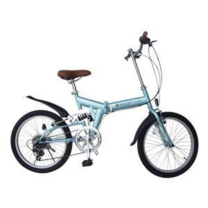 折畳自転車20・6SP・リアサス540×1480×1030 ライトブルーの詳細を見る