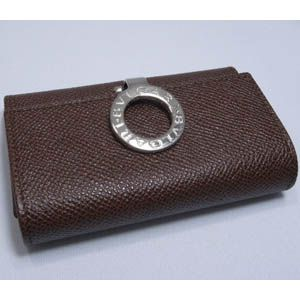BVLGARI(ブルガリ)  #23284 Keyholder small with clip Grain leather dark brown/P.