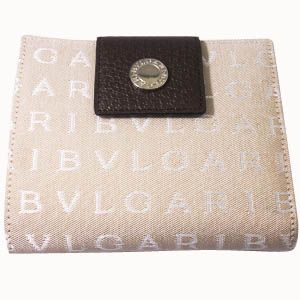 BVLGARI(ブルガリ) #22242 Woman wallet 2 folds without zip Lettere fabric beige/pigskin chocolate/P