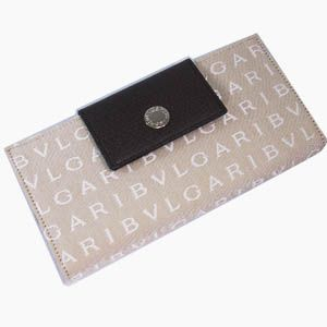 BVLGARI(ブルガリ) #22248 Woman wallet long treble 16 CC Lettere fabric beige/pigskin chocolate/P