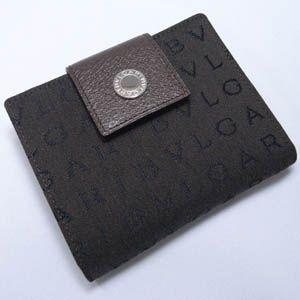 BVLGARI(ブルガリ) #22596 W. Wallet  2 Folds Lettere chocolate/Pigskin Brown Dark/P