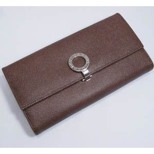 BVLGARI(ブルガリ) #23302 Woman wallet 8 CC with internal zip and clip Grain leather dark brown/P.