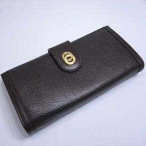 BVLGARI(ブルガリ) #25225 Woman wallet 8 CC with internal zip and flap Goat leather dark brown/calf leather dark brown/G