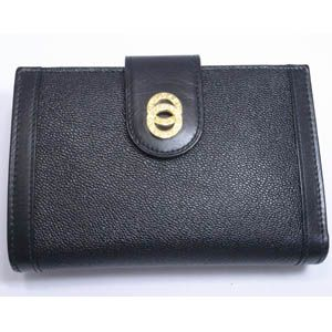 BVLGARI(ブルガリ) #25251 Woman wallet 2 folds with frame Goat leather black/calf leather black/G