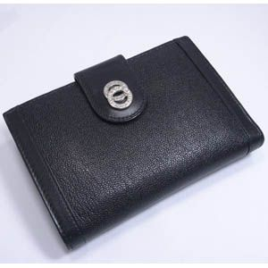 BVLGARI(ブルガリ) #26238 Woman wallet 2 folds with frame Goat leather black/calf leather black/P