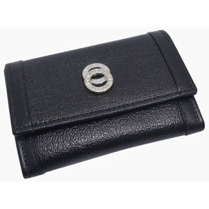 BVLGARI(ブルガリ) #26276 Small coin 3 compartments Goat leather black/calf leather black/P