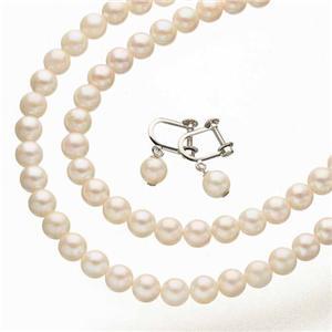 あこや本真珠 3点セット(真珠ネックレス2点、ぶら下がりイヤリング)