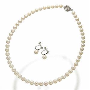 あこや本真珠 6.5-7mm 2点セット(真珠ネックレス1点、ぶら下がりイヤリング1点計2点セット)