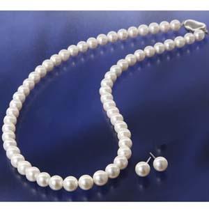 花珠真珠(あこや真珠) ネックレス&ピアス 7?7.5mm玉