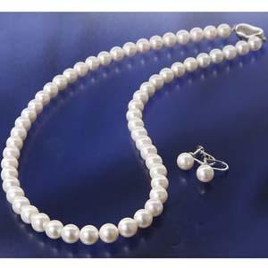 花珠真珠(あこや真珠) パールネックレス&パールイヤリング 7~7.5mm玉