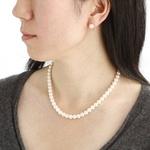 花珠真珠(あこや真珠) パールネックレス&パールイヤリング 7〜7.5mm玉
