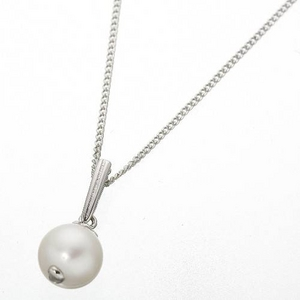和珠本真珠9.0〜9.5mmシルバーペンダント ホワイトピンク