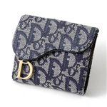 Christian Dior トロッター ダブルホック財布 SLO43025 B3・Blue×Oro