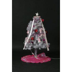 ホワイトツリー ピンク オーナメント 【150cm 50レッドLED】