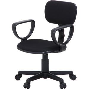 オフィスチェア/デスクチェア 【ブラック】 幅52cm 肘掛け付き キャスター付き 『リップII』