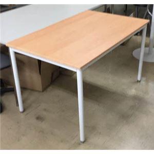 多目的 ミーティングテーブル/会議テーブル 【幅135cm ナチュラル】 スチールフレーム