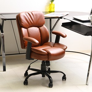 オフィスチェア/プレジデントチェア 【ブラウン】 幅60cm ハイバック 肘掛け キャスター付き 張地:合成皮革 『マンチェスター』