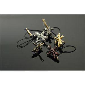 リアル!!18Kゴールドメッキクギ付き呪いのワラ人形ストラップ (ダークシルバー)