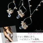【Azalea】ハイカジュアル淡水パールデザインサークルネックレス&ピアス(ベビーピンク)