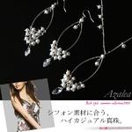 【Azalea】ハイカジュアル淡水パールデザインオーバルネックレス&ピアス(シャンパンホワイト)