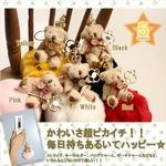 【期間限定クリスマスベア☆12/22まで】ハッピーラブくま&ポンポンストラップ(イエロー)