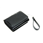 クロコ財布&ストラップセット ブラック