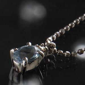 《地球遺産シリーズ》シルバー0.4ctupアクアマリンダイヤモンド入りネックレス