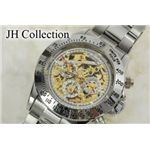 JH Collection 自動巻マルチ両スケ腕時計 桃金x白 メンズ JJH11NPGW